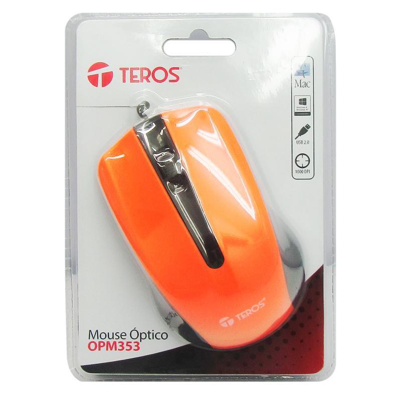 Mouse óptico TEROS OPM353 USB 2.0 color Naranja