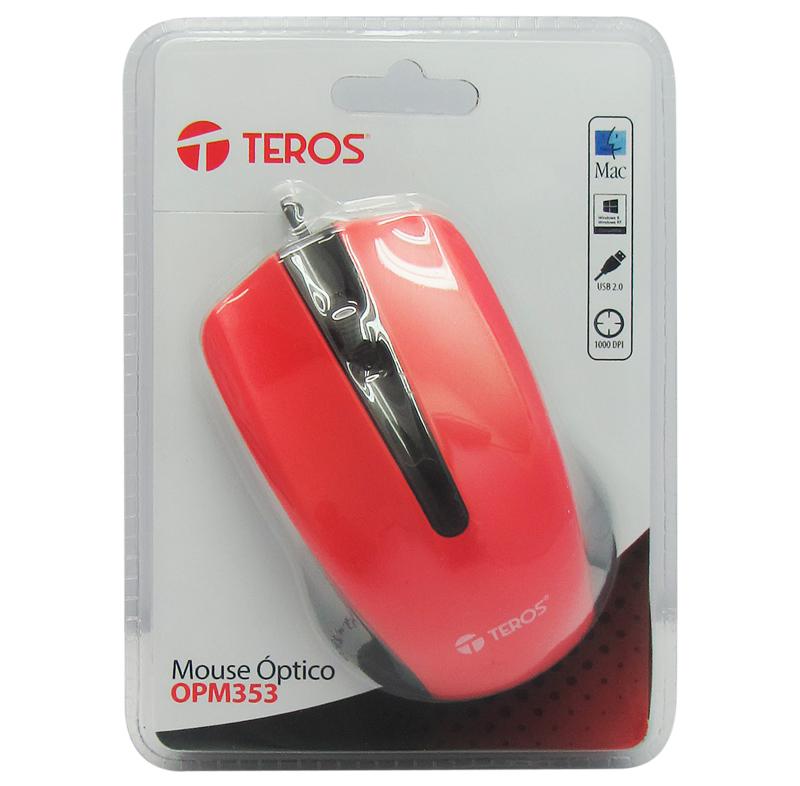 Mouse óptico Teros OPM353, 1000 dpi, USB 2.0, Rojo / Negro